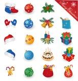 Grupo do ícone do Feliz Natal Foto de Stock