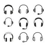 Grupo do ícone do fones de ouvido Fotografia de Stock Royalty Free