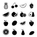 Grupo do ícone do fruto Fotografia de Stock