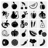 Grupo do ícone do fruto e dos vegetais Imagem de Stock Royalty Free