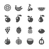 Grupo do ícone do fruto, vetor eps10 Foto de Stock Royalty Free