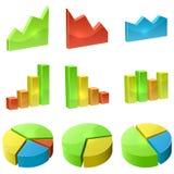 Grupo do ícone do gráfico da cor 3D Imagem de Stock