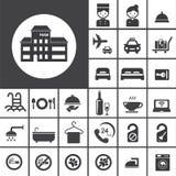 Grupo do ícone do hotel ilustração stock