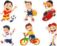 Grupo do ícone do jogador do esporte dos desenhos animados ilustração royalty free