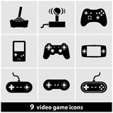 Grupo do ícone do jogo de vídeo Fotografia de Stock Royalty Free