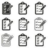 Grupo do ícone do lápis da prancheta Fotografia de Stock
