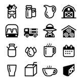 Grupo do ícone do leite Imagens de Stock