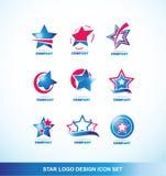 Grupo do ícone do logotipo da estrela do vermelho azul Fotografia de Stock Royalty Free