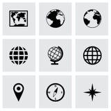Grupo do ícone do mapa do mundo do vetor Fotos de Stock