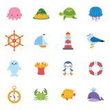Grupo do ícone do mar Imagens de Stock Royalty Free