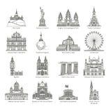 Grupo do ícone do marco do mundo ilustração royalty free