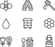 Grupo do ícone do mel e da abelha Foto de Stock Royalty Free