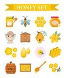 Grupo do ícone do mel, liso, estilo dos desenhos animados Coleção da apicultura dos objetos isolados no fundo branco Jogo da apic Fotografia de Stock Royalty Free