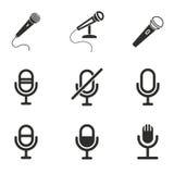 Grupo do ícone do microfone Imagens de Stock Royalty Free