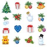 Grupo do ícone do Natal. Decoração do feriado do ano novo do inverno   coleção. ilustração stock