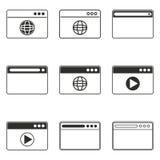Grupo do ícone do navegador Imagens de Stock