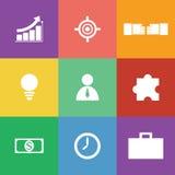 Grupo do ícone do negócio, projeto liso Imagem de Stock Royalty Free