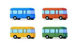 Grupo do ícone do ônibus dos desenhos animados do vetor Carro da cor Fotografia de Stock