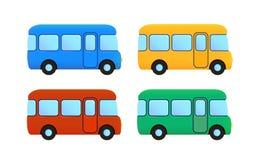 Grupo do ícone do ônibus dos desenhos animados do vetor Carro da cor Foto de Stock