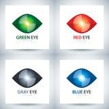 Grupo do ícone do olho do Cyber Fotografia de Stock