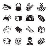 Grupo do ícone do pão da padaria ilustração stock