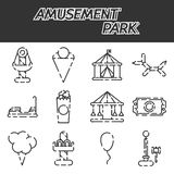 Grupo do ícone do parque de diversões ilustração stock