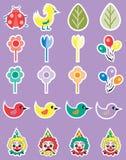 Grupo do ícone do partido da mola dos desenhos animados Fotografia de Stock