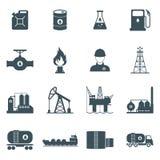 Grupo do ícone do petróleo e gás ilustração stock