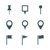 Grupo do ícone do pino do mapa ilustração royalty free
