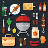Grupo do ícone do piquenique e do alimento do assado em um projeto liso Foto de Stock