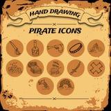 Grupo do ícone do pirata Fotografia de Stock Royalty Free