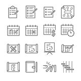 Grupo do ícone do plano e da programação ilustração stock