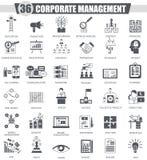 Grupo do ícone do preto da gestão incorporada do vetor Projeto clássico cinzento escuro do ícone para a Web Fotografia de Stock