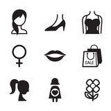 Grupo do ícone do símbolo da mulher Foto de Stock