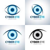 Grupo do ícone do símbolo do olho do Cyber Imagem de Stock