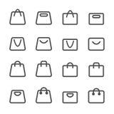 Grupo do ícone do saco de compras, linha versão, vetor eps10 Foto de Stock Royalty Free