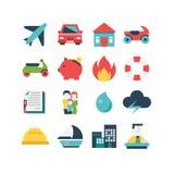 Grupo do ícone do seguro Foto de Stock Royalty Free