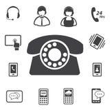Grupo do ícone do serviço ao cliente do centro de atendimento Imagem de Stock