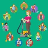 Grupo do ícone do serviço da limpeza Fotografia de Stock Royalty Free