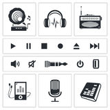 Grupo do ícone do som e da música Imagem de Stock Royalty Free