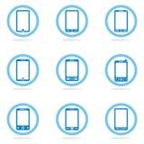 Grupo do ícone do telefone celular foto de stock