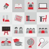 Grupo do ícone do tema da escola Imagem de Stock