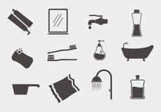 Grupo do ícone do tema do banheiro Foto de Stock Royalty Free