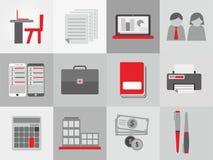 Grupo do ícone do tema do negócio Fotos de Stock Royalty Free