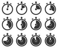 Grupo do ícone do temporizador foto de stock