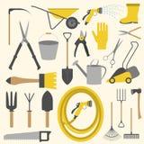 Grupo do ícone do trabalho do jardim ferramentas de funcionamento Imagens de Stock