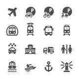 Grupo do ícone do transporte e da infraestrutura, vetor eps10 Foto de Stock