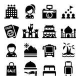 Grupo do ícone do turismo Fotografia de Stock