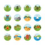 Grupo do ícone do turismo e da natureza Foto de Stock Royalty Free