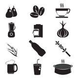Grupo do ícone do utensílio e do alimento Imagem de Stock